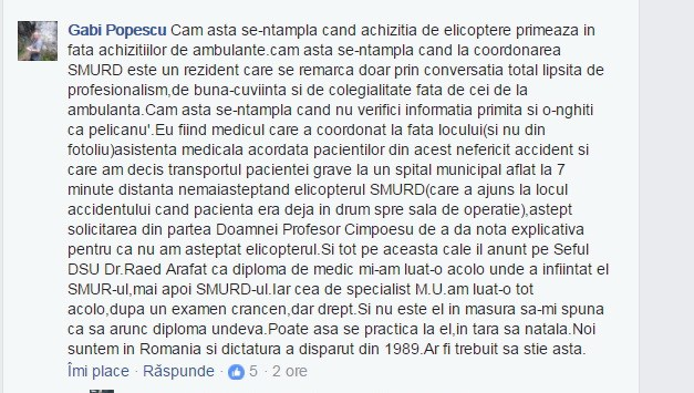 captura de ecran a declaratiei medicului Gabi Popescu