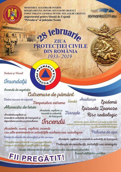 Afis 28 Februarie - Ziua Protectiei Civile din Romania