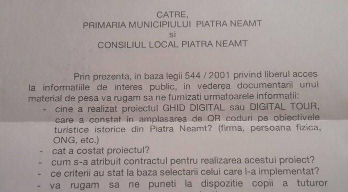 Cererea depusa la Primarie de tvmneamt.ro