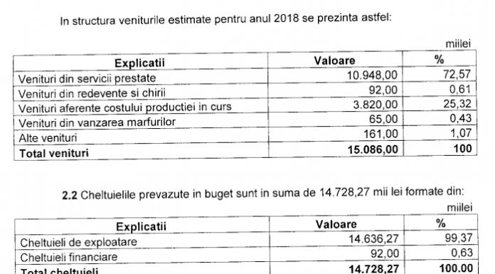 Document intocmit de Publiserv pentru prezentarea bugetului de venituri si chetuieli pentru anul 2018